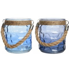 Bring the calming feel of the ocean to your home with these stylishly assorted candle pots