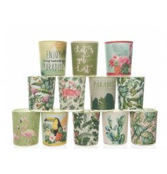 This summer inspired assortment of tlight candle pots will definitely add that tropical feel to its space