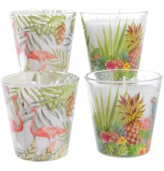 This stylish and summer ready assortment of wax candles will add a tropical feel to any room