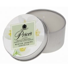 Candle tin with a winter jasmine scented candle inside