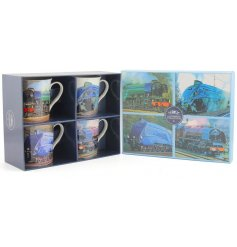 A new line of stylish china train themed mugs
