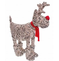 A large woven willow reindeer decoration with red scarf and nose