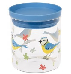 Blue Tit Glass Food Jar  Store away food in this simple blue tit designed air tight glass jar