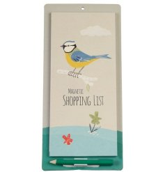 A spring inspired magnetic shopping list with pencil, printed with a Blue Tit design.