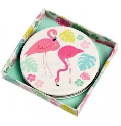 A quirky little flamingo themed compact mirror