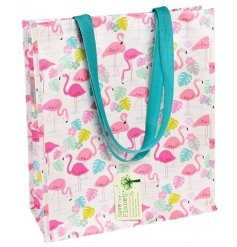 Bring a fun flamingo theme to your shopping trips with this handy plastic shopper bag