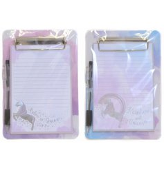 A unicorn themed clipboard pad with pen