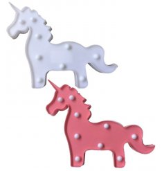 Bring a unicorn themed glow into your bedroom space with this quirky assortment of pink and white unicorn LED decoration