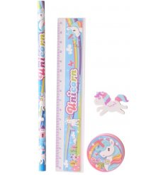 Write in style with this quirky unicorn inspired writing set, complete with a Pencil, Ruler, Rubber and Sharpener