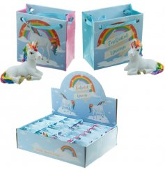 Unicorn in Gift Bag   Sweet little resin unicorns in a colourful gift bag,