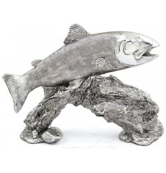 A stylish silver toned posed fish ornament from the popular Leonardo Range