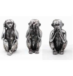 Add a exotic touch to any space of your home with these stylish Hear, See, Speak No Evil posed monkey figures