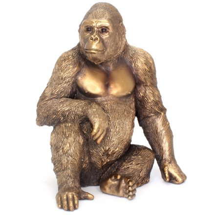 Lp41199 Reflection Bronzed Sitting Gorilla 37068
