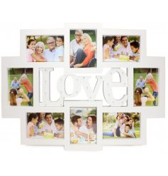 A collage photo frame with LED light up love