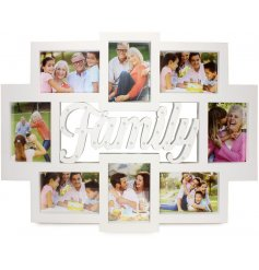 A collage photo frame with light up family