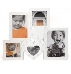 A collage photo frame with led hearts