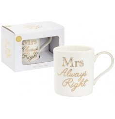 With its matching gift box and script golden writing, this glam mug is perfect for any Mrs