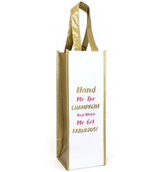 A quirky and practical bottle bag with a Champagne inspired quote