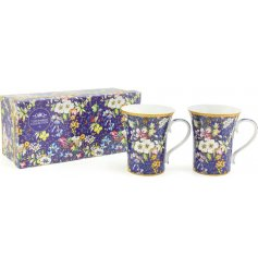 add a royal blue touch to your home with this beautiful set of fine china mugs