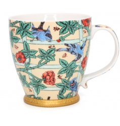 A beautifully decorated fine china mug from the William Morris Collection