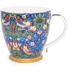 A beautifully decorated fine china mug from the Strawberry Thief Collection