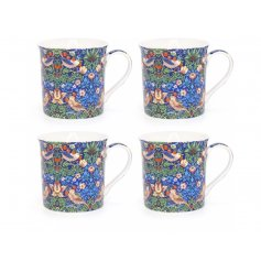 A beautifully decorated fine china set of mug from the Strawberry Thief Collection