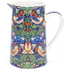 A beautifully decorated fine china jug from the Strawberry Thief Collection