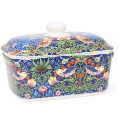 A beautifully decorated fine china butter dish from the Strawberry Thief Collection