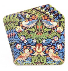 A beautifully decorated cork coaster set from the Strawberry Thief Collection