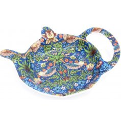 A beautifully patterned plastic teabag tidy, complete with the popular 'Strawberry Thief' design