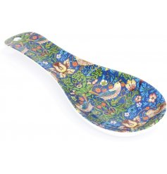 A beautifully patterned plastic spoon rest, complete with the popular 'Strawberry Thief' design