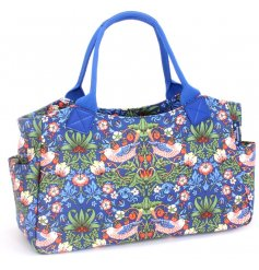 A beautifully decorated side tote bag from the Strawberry Thief Collection