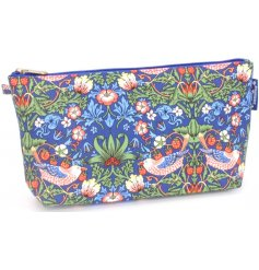 A beautifully decorated makeup bag from the Strawberry Thief Collection