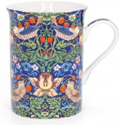 A beautifully patterned fine china mug, complete with the popular 'Strawberry Thief' design