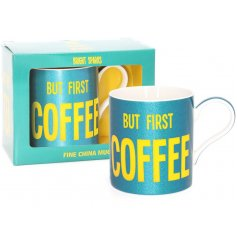Let them all know to not even look at you until this glitzy blue toned mug with the yellow bold wording