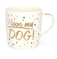 With a gold and black bubbly finish, this mug also comes with a matching gift box