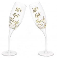 These funky 'Lets get fizzy' flute glasses will be the talk of any hosting event with their unnatural pose