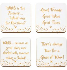 Add a quirky and glitzy toned vibe to any home or kitchen with these Wine inspired coasters