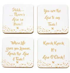 Add a quirky and glitzy toned vibe to any home or kitchen with these Gin inspired coasters