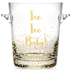 "Keep your fizz chilled in style with this fabulous bubbly inspired patterns and ""Ice Ice Baby!"" script quote"