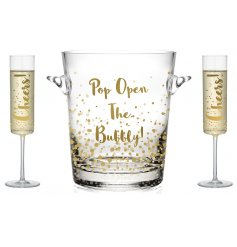 Flute Glasses and Ice Bucket Set  Keep your fizz chilled in style with this fabulous bubbly ice bucket,