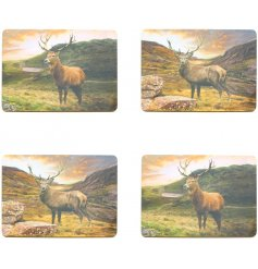 Bring the wilderness to your home with these beautifully printed stag placemats