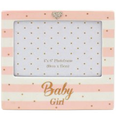 A beautiful Mad Dots designed baby girl picture frame