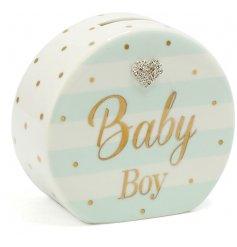 A beautiful Mad Dots designed baby boy money box