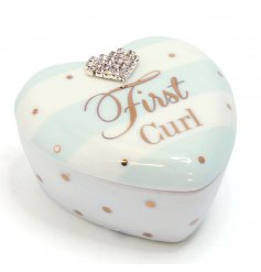 A beautiful Mad Dots designed baby boy first curl trinket pot