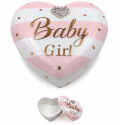 A beautiful Mad Dots designed baby girl trinket pot