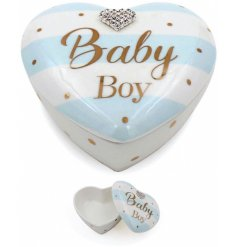 A beautiful Mad Dots designed baby boy trinket pot