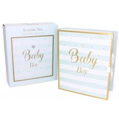 Mad Dots Baby Boy Keepsake Box - Large  This beautifully decorated Keepsake Box is a perfect gift idea for a new born ba