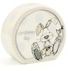 This beautifully finished ceramic money box is a perfect little gift idea for any christening day