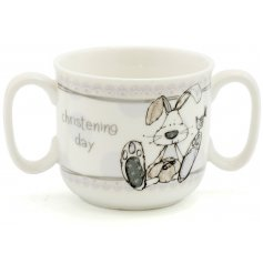 This beautifully finished ceramic baby mug is a perfect little gift idea for any christening day